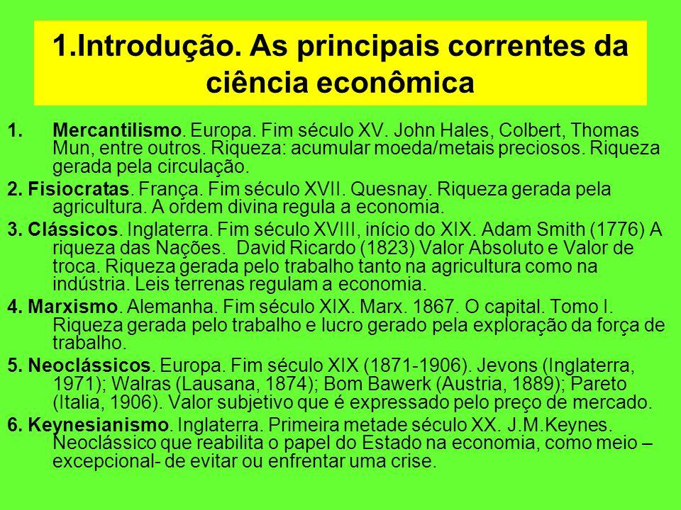 1.Introdução. As principais correntes da ciência econômica 1.Mercantilismo. Europa. Fim século XV. John Hales, Colbert, Thomas Mun, entre outros. Riqu