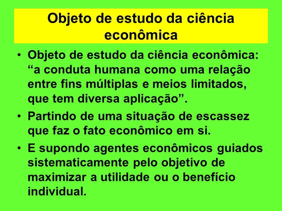 Objeto de estudo da ciência econômica Objeto de estudo da ciência econômica: a conduta humana como uma relação entre fins múltiplas e meios limitados,