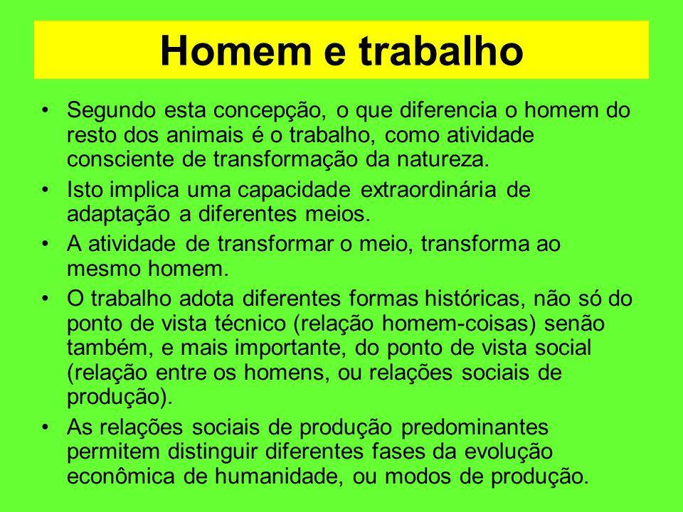 Homem e trabalho Segundo esta concepção, o que diferencia o homem do resto dos animais é o trabalho, como atividade consciente de transformação da nat