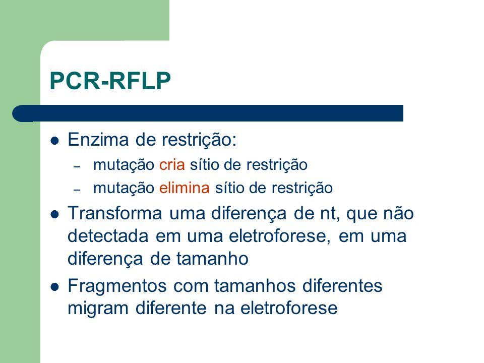 PCR-RFLP Enzima de restrição: – mutação cria sítio de restrição – mutação elimina sítio de restrição Transforma uma diferença de nt, que não detectada em uma eletroforese, em uma diferença de tamanho Fragmentos com tamanhos diferentes migram diferente na eletroforese