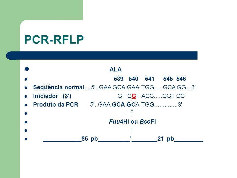 ALA 539 540 541 545 546 Seqüência normal....5'..GAA GCA GAA TGG.....GCA GG...3' Iniciador (3') GT CGT ACC.....CGT CC Produto da PCR 5'..GAA GCA GCA TG