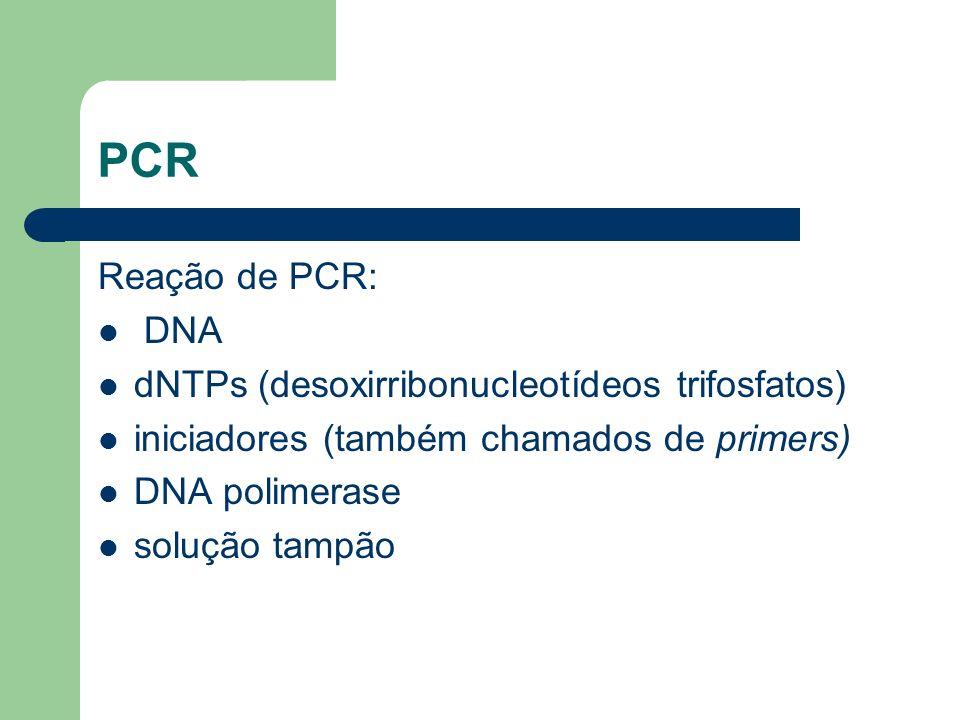 PCR Reação de PCR: DNA dNTPs (desoxirribonucleotídeos trifosfatos) iniciadores (também chamados de primers) DNA polimerase solução tampão