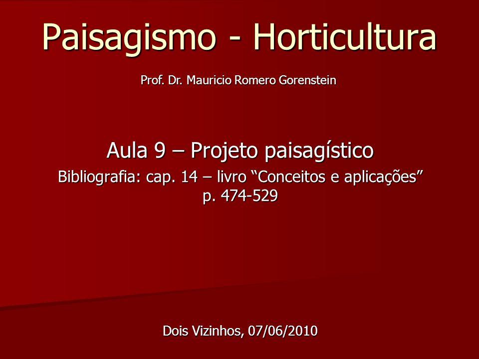 Paisagismo - Horticultura Aula 9 – Projeto paisagístico Bibliografia: cap. 14 – livro Conceitos e aplicações p. 474-529 Dois Vizinhos, 07/06/2010 Prof