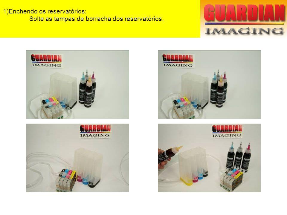 1)Enchendo os reservatórios: Encha cada reservatório com a tinta correspondente.