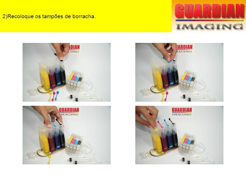 3)Enchendo os cartuchos: Com uma seringa puxe o dar de dentro dos cartuchos até que a tinta Comece a entrar na seringa.