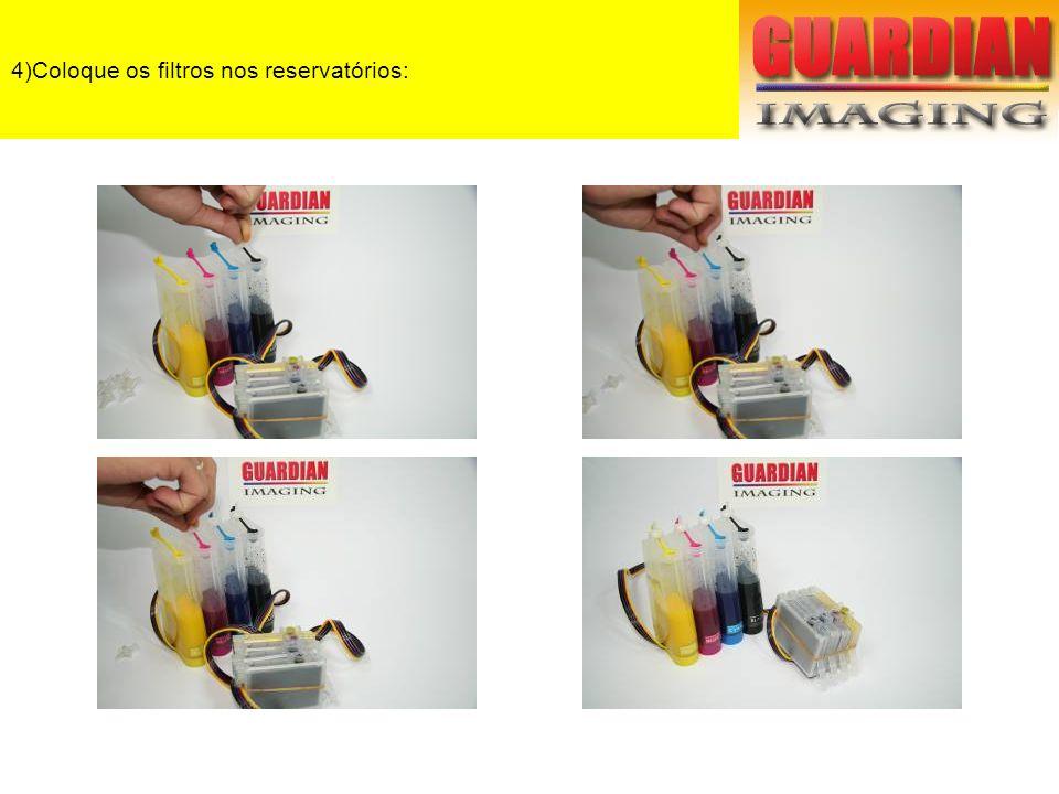 5)Instalando o Bulk: Encaixe os cartuchos na cabeça de impressão.