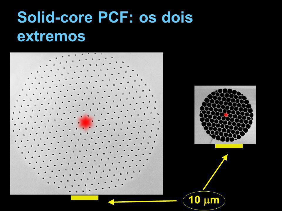 Efeitos não-lineares A dispersão baixa e a pequena área efetiva permitiu demonstração de uma fonte a geração de uma fonte inédita de luz branca.