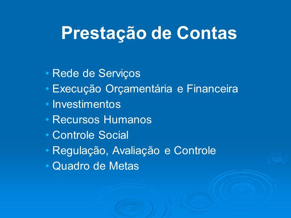 Prestação de Contas Rede de Serviços Execução Orçamentária e Financeira Investimentos Recursos Humanos Controle Social Regulação, Avaliação e Controle