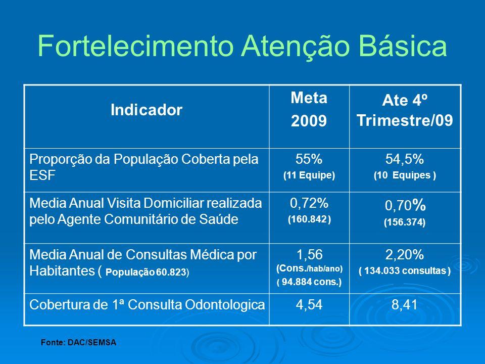 Indicador Meta 2009 Ate 4º Trimestre/09 Proporção da População Coberta pela ESF 55% (11 Equipe) 54,5% (10 Equipes ) Media Anual Visita Domiciliar real