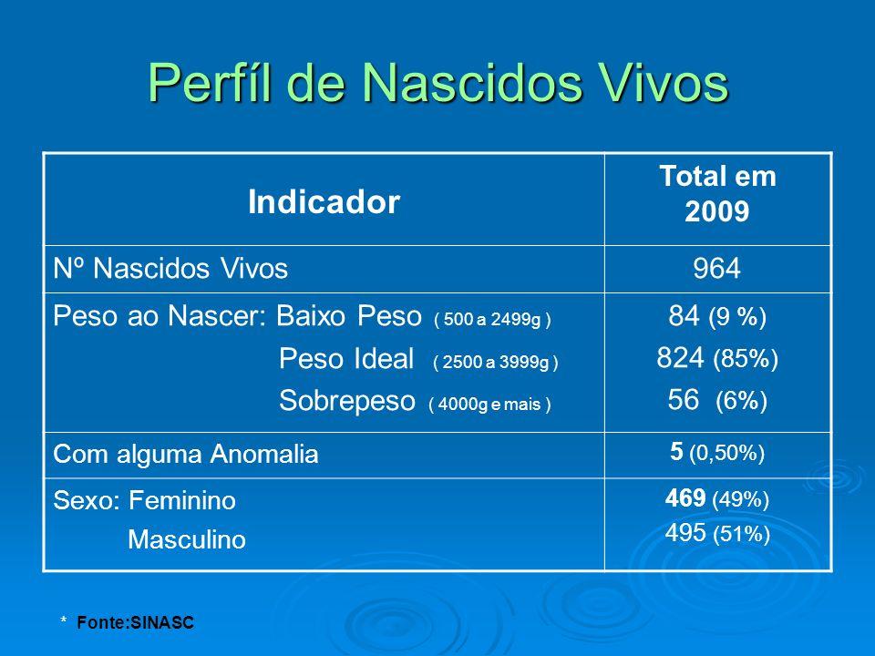 Indicador Total em 2009 Nº Nascidos Vivos964 Peso ao Nascer: Baixo Peso ( 500 a 2499g ) Peso Ideal ( 2500 a 3999g ) Sobrepeso ( 4000g e mais ) 84 (9 %