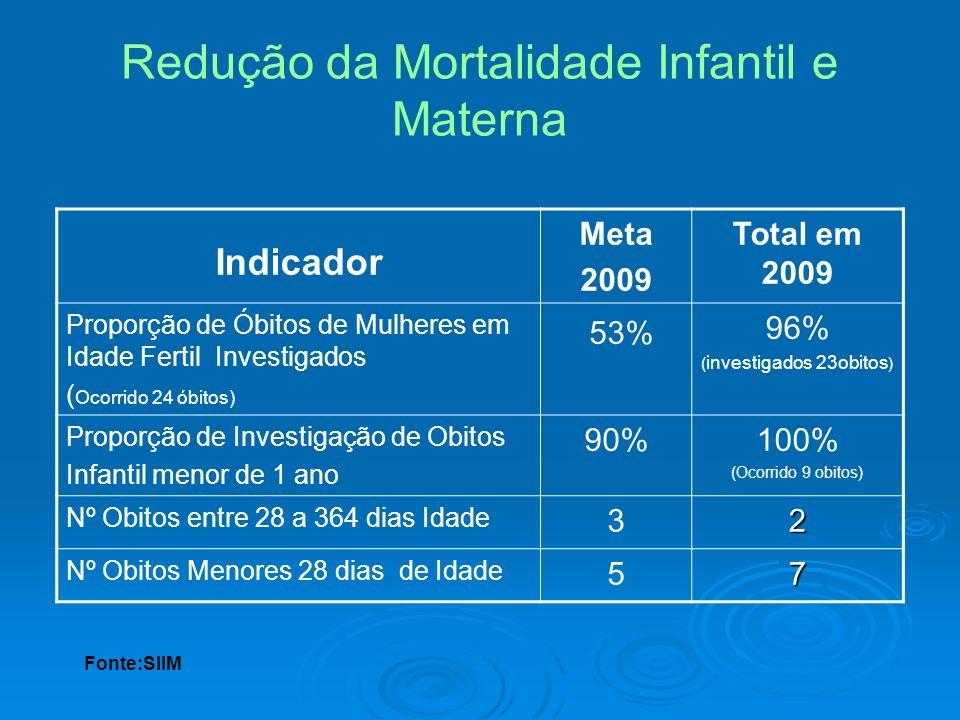 Redução da Mortalidade Infantil e Materna Indicador Meta 2009 Total em 2009 Proporção de Óbitos de Mulheres em Idade Fertil Investigados ( Ocorrido 24
