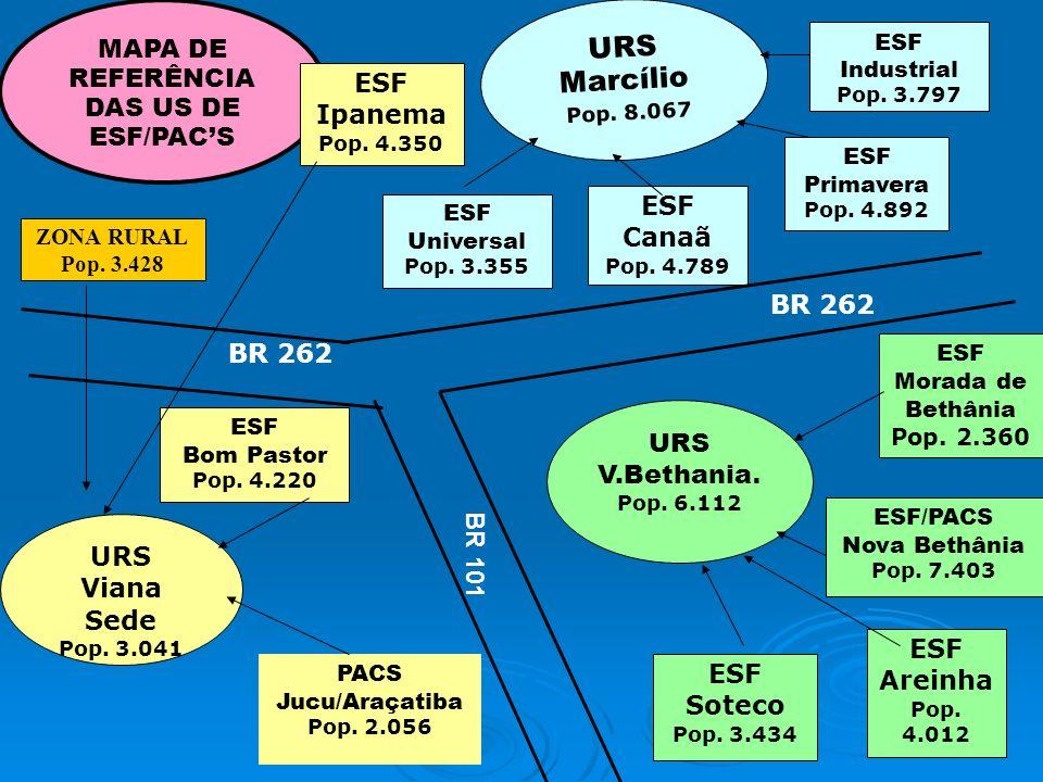 MAPA DE REFERÊNCIA DAS US DE ESF/PACS URS Marcílio Pop. 8.067 ESF Industrial Pop. 3.797 ESF Primavera Pop. 4.892 ESF Canaã Pop. 4.789 ESF Universal Po