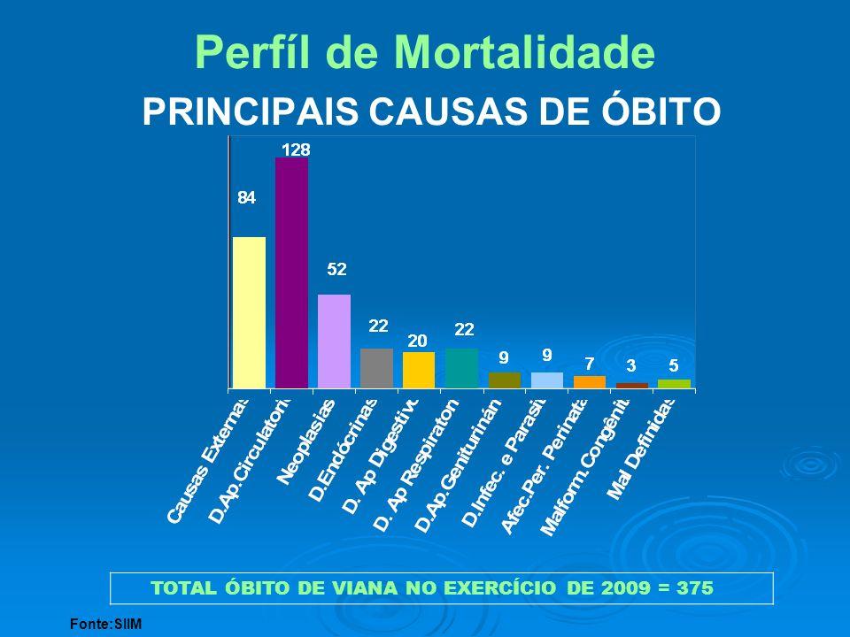 Perfíl de Mortalidade PRINCIPAIS CAUSAS DE ÓBITO TOTAL ÓBITO DE VIANA NO EXERCÍCIO DE 2009 = 375 Fonte:SIIM