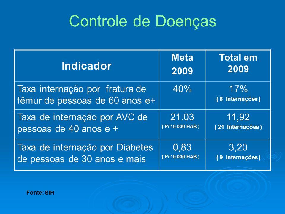 Controle de Doenças Indicador Meta 2009 Total em 2009 Taxa internação por fratura de fêmur de pessoas de 60 anos e+ 40%17% ( 8 Internações ) Taxa de i