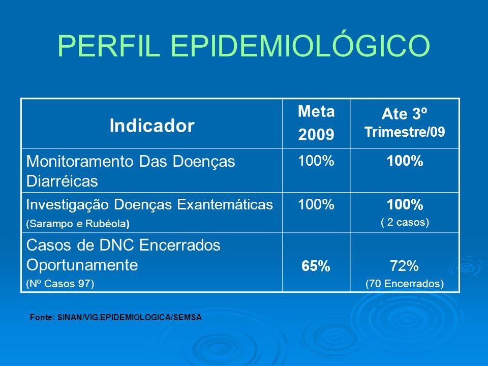 PERFIL EPIDEMIOLÓGICO Indicador Meta 2009 Ate 3º Trimestre/09 Monitoramento Das Doenças Diarréicas 100% Investigação Doenças Exantemáticas (Sarampo e