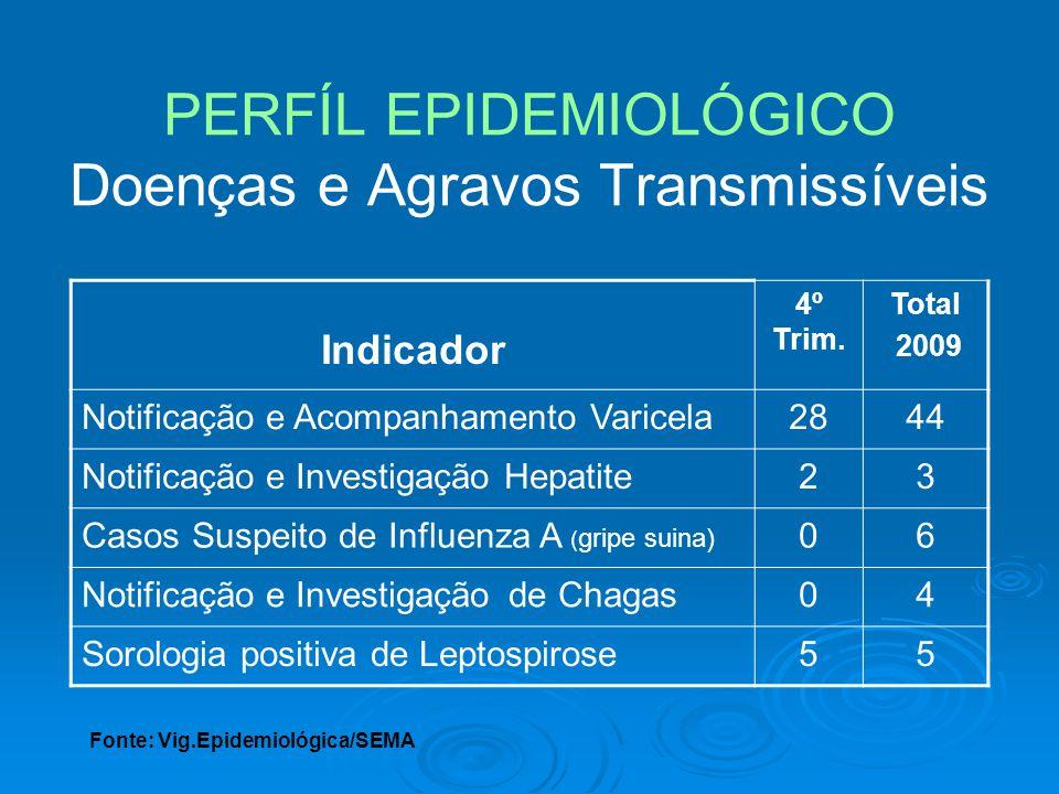 PERFÍL EPIDEMIOLÓGICO Doenças e Agravos Transmissíveis Indicador 4º Trim. Total 2009 Notificação e Acompanhamento Varicela2844 Notificação e Investiga