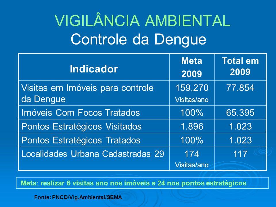 Indicador Meta 2009 Total em 2009 Visitas em Imóveis para controle da Dengue 159.270 Visitas/ano 77.854 Imóveis Com Focos Tratados100%65.395 Pontos Es