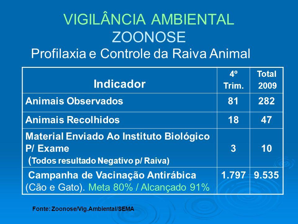 VIGILÂNCIA AMBIENTAL ZOONOSE Profilaxia e Controle da Raiva Animal Indicador 4º Trim. Total 2009 Animais Observados81282 Animais Recolhidos1847 Materi