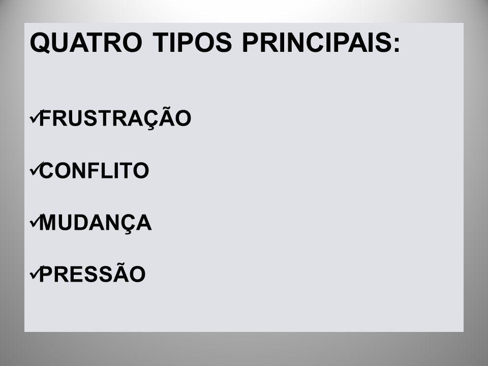 QUATRO TIPOS PRINCIPAIS: FRUSTRAÇÃO CONFLITO MUDANÇA PRESSÃO