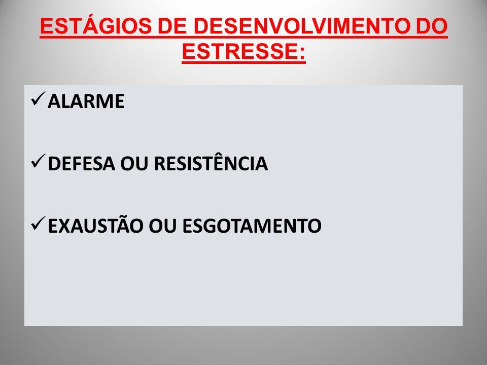 ESTÁGIOS DE DESENVOLVIMENTO DO ESTRESSE: ALARME DEFESA OU RESISTÊNCIA EXAUSTÃO OU ESGOTAMENTO