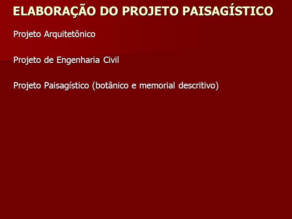 ELABORAÇÃO DO PROJETO PAISAGÍSTICO Projeto Arquitetônico Projeto de Engenharia Civil Projeto Paisagístico (botânico e memorial descritivo)