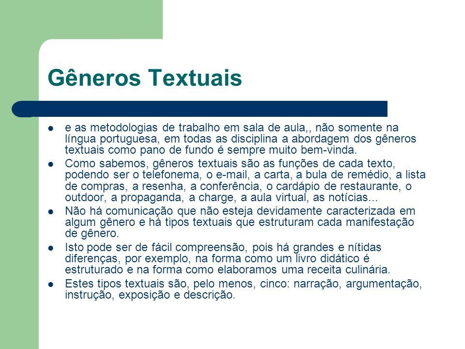 Gêneros Textuais e as metodologias de trabalho em sala de aula,, não somente na língua portuguesa, em todas as disciplina a abordagem dos gêneros text