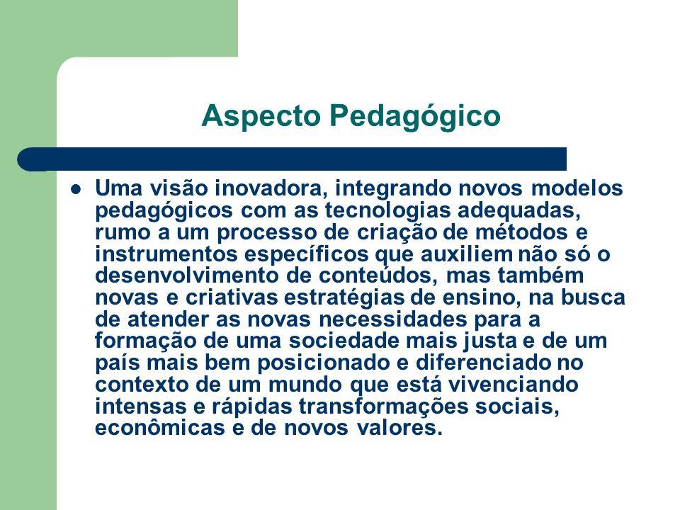 Aspecto Pedagógico Uma visão inovadora, integrando novos modelos pedagógicos com as tecnologias adequadas, rumo a um processo de criação de métodos e