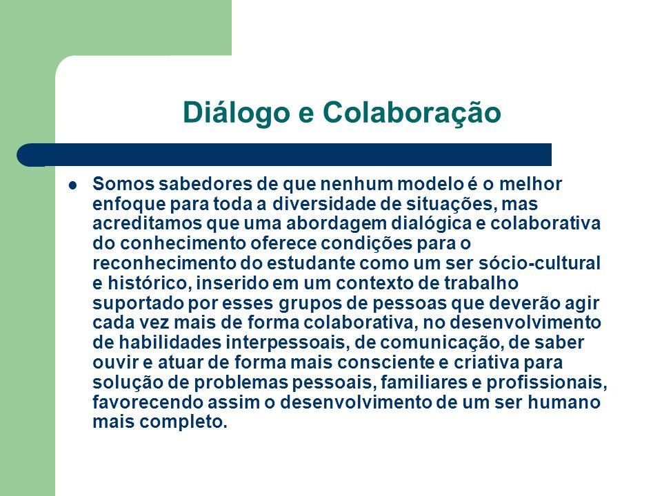 Diálogo e Colaboração Somos sabedores de que nenhum modelo é o melhor enfoque para toda a diversidade de situações, mas acreditamos que uma abordagem