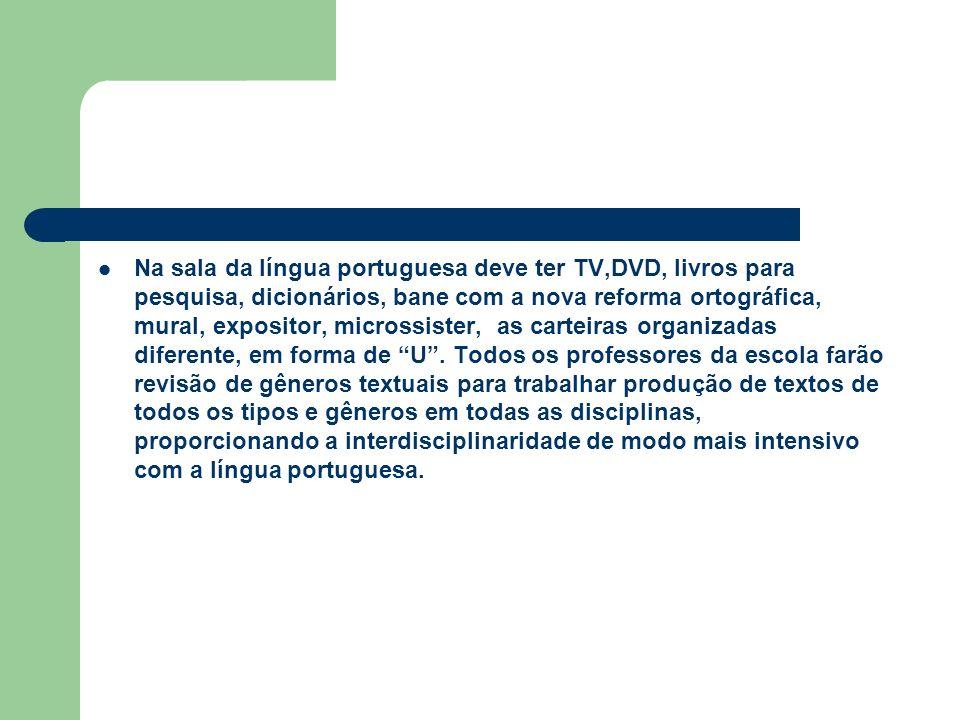 Na sala da língua portuguesa deve ter TV,DVD, livros para pesquisa, dicionários, bane com a nova reforma ortográfica, mural, expositor, microssister,