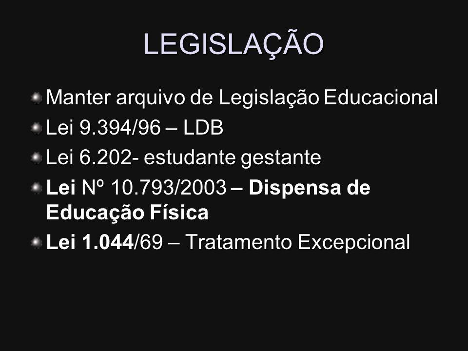 LEGISLAÇÃO Manter arquivo de Legislação Educacional Lei 9.394/96 – LDB Lei 6.202- estudante gestante Lei Nº 10.793/2003 – Dispensa de Educação Física
