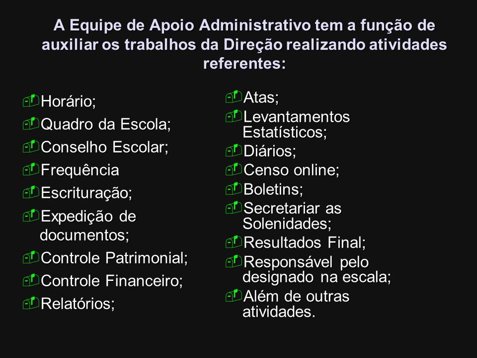A Equipe de Apoio Administrativo tem a função de auxiliar os trabalhos da Direção realizando atividades referentes: Horário; Horário; Quadro da Escola