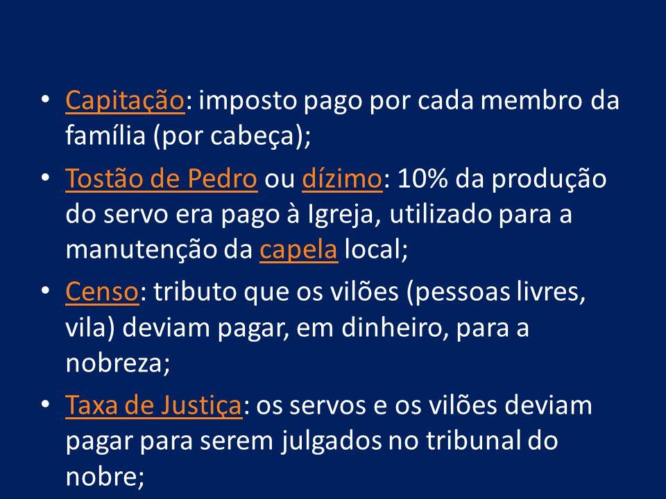 Capitação: imposto pago por cada membro da família (por cabeça); Capitação Tostão de Pedro ou dízimo: 10% da produção do servo era pago à Igreja, util