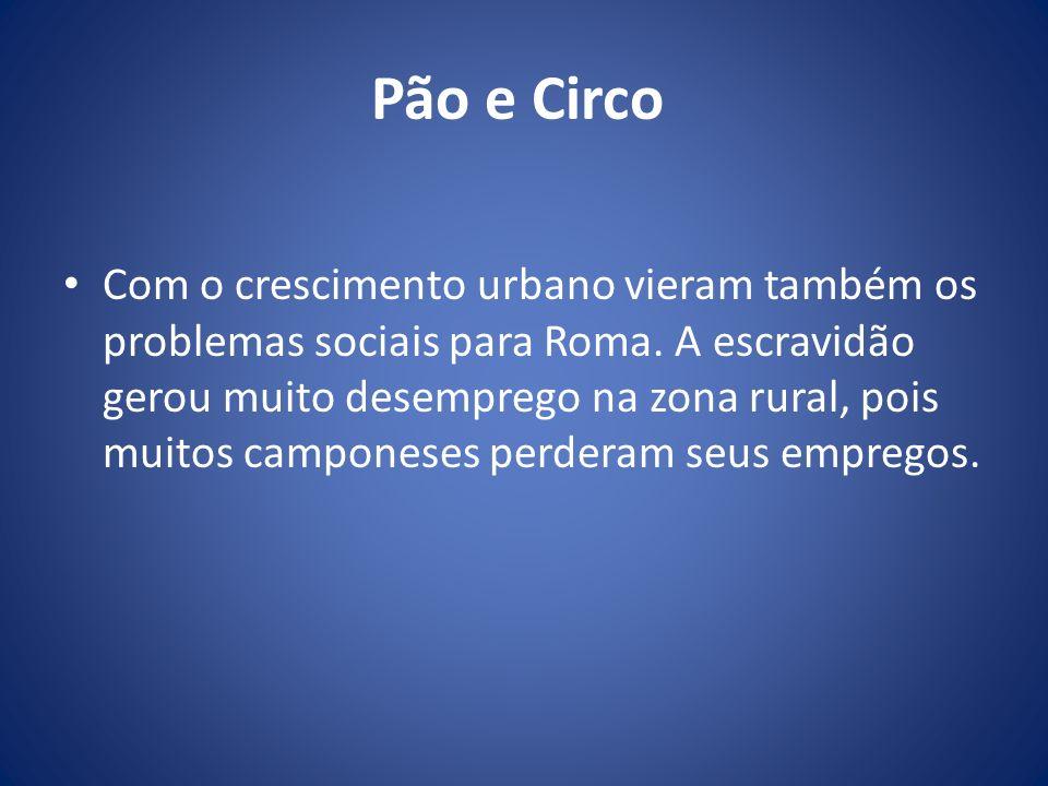 Pão e Circo Com o crescimento urbano vieram também os problemas sociais para Roma. A escravidão gerou muito desemprego na zona rural, pois muitos camp