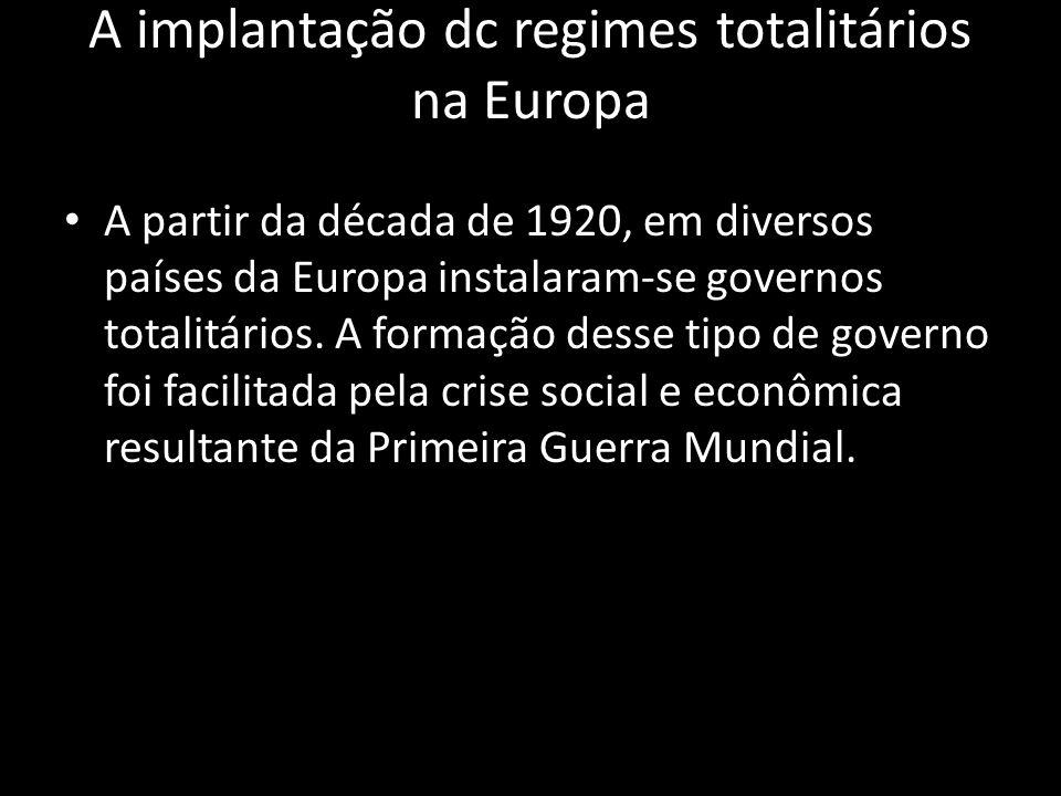 A implantação dc regimes totalitários na Europa A partir da década de 1920, em diversos países da Europa instalaram-se governos totalitários. A formaç