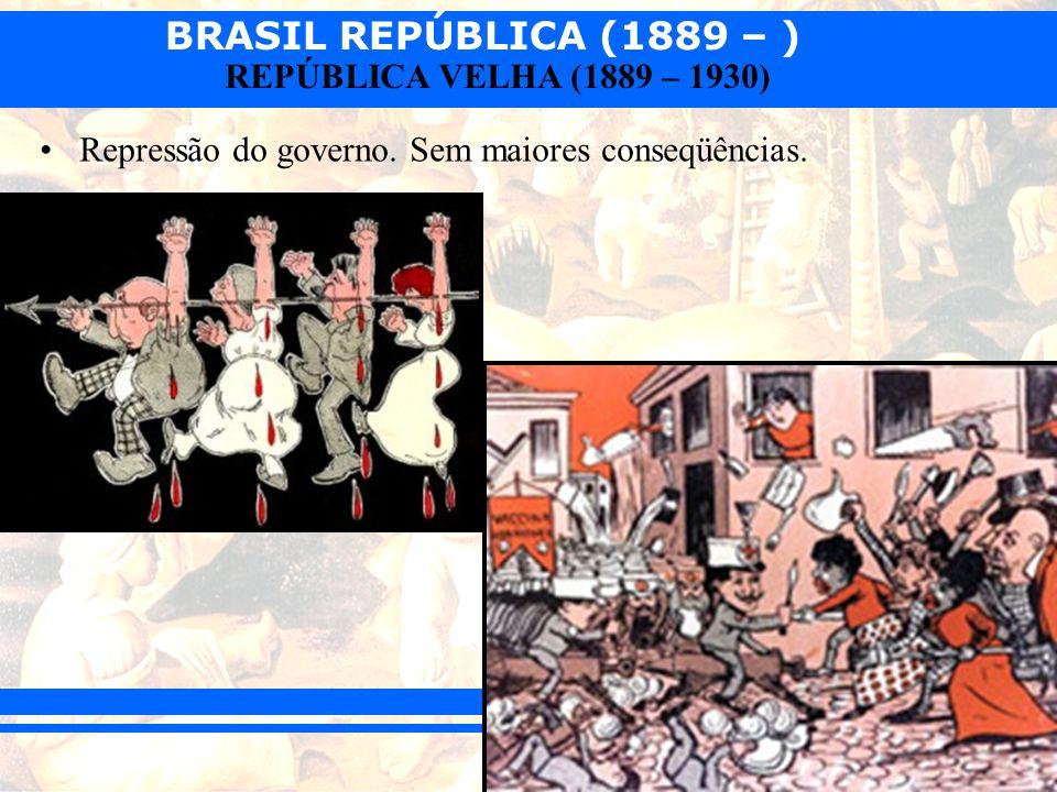 BRASIL REPÚBLICA (1889 – ) REPÚBLICA VELHA (1889 – 1930) Repressão do governo. Sem maiores conseqüências.