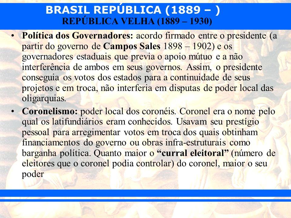 BRASIL REPÚBLICA (1889 – ) REPÚBLICA VELHA (1889 – 1930) Fraudes eleitorais ou manipulação de resultados: –Clientelismo – voto em troca de pequenos favores ou presentes.