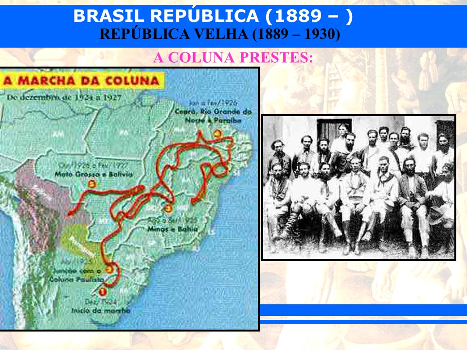 BRASIL REPÚBLICA (1889 – ) REPÚBLICA VELHA (1889 – 1930) A COLUNA PRESTES: