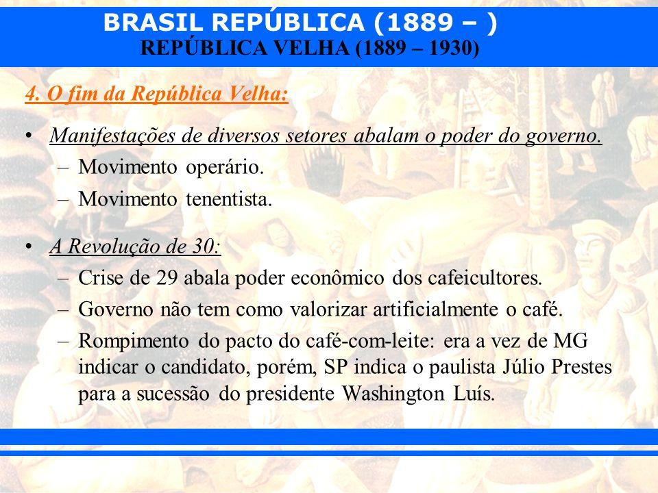 BRASIL REPÚBLICA (1889 – ) REPÚBLICA VELHA (1889 – 1930) 4. O fim da República Velha: Manifestações de diversos setores abalam o poder do governo. –Mo