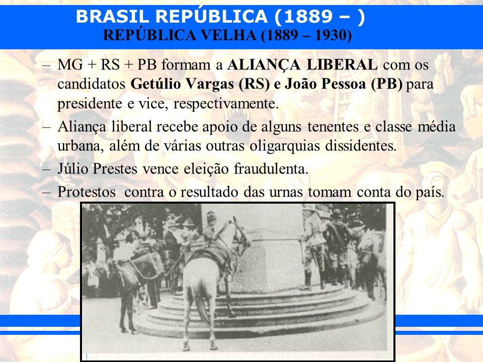 BRASIL REPÚBLICA (1889 – ) REPÚBLICA VELHA (1889 – 1930) –MG + RS + PB formam a ALIANÇA LIBERAL com os candidatos Getúlio Vargas (RS) e João Pessoa (P