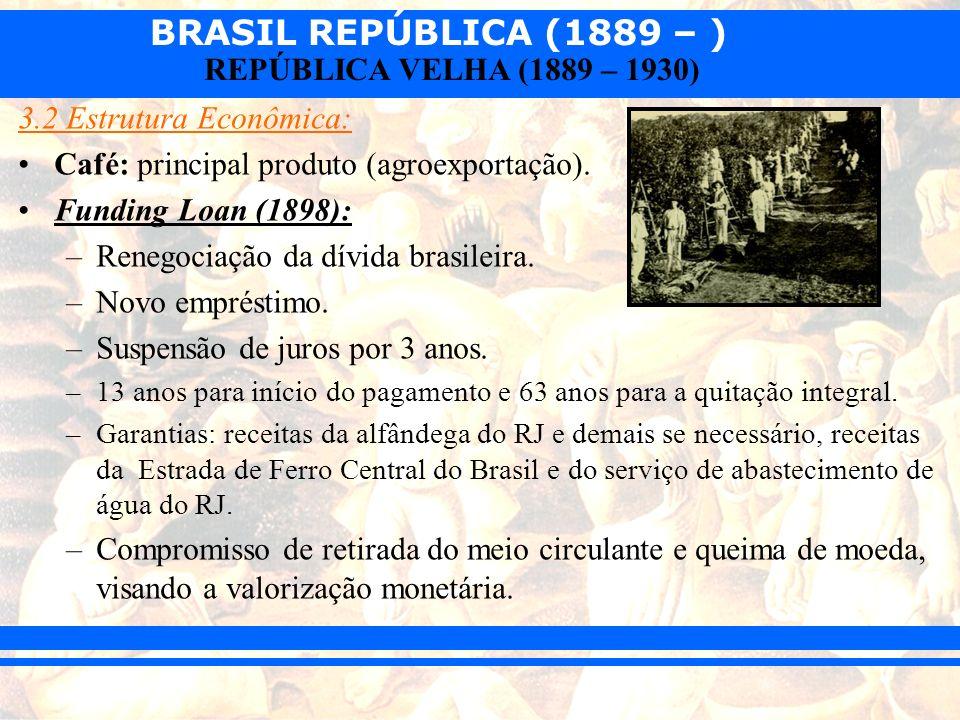BRASIL REPÚBLICA (1889 – ) REPÚBLICA VELHA (1889 – 1930) 3.2 Estrutura Econômica: Café: principal produto (agroexportação). Funding Loan (1898): –Rene
