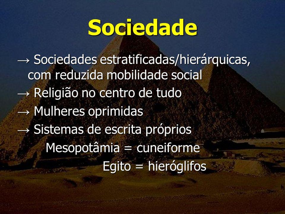 Sociedade Sociedades estratificadas/hierárquicas, com reduzida mobilidade social Sociedades estratificadas/hierárquicas, com reduzida mobilidade socia