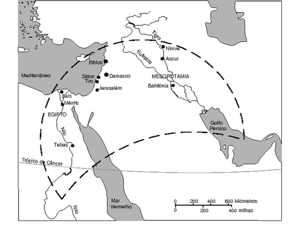 CRESCENTE FÉRTIL margens dos grandes rios (cheias / agricultura) Egito = Rio Nilo Mesopotâmia = Rios Tigre e Eufrates Fenícios = Mar Mediterrâneo Hebreus = Rio Jordão