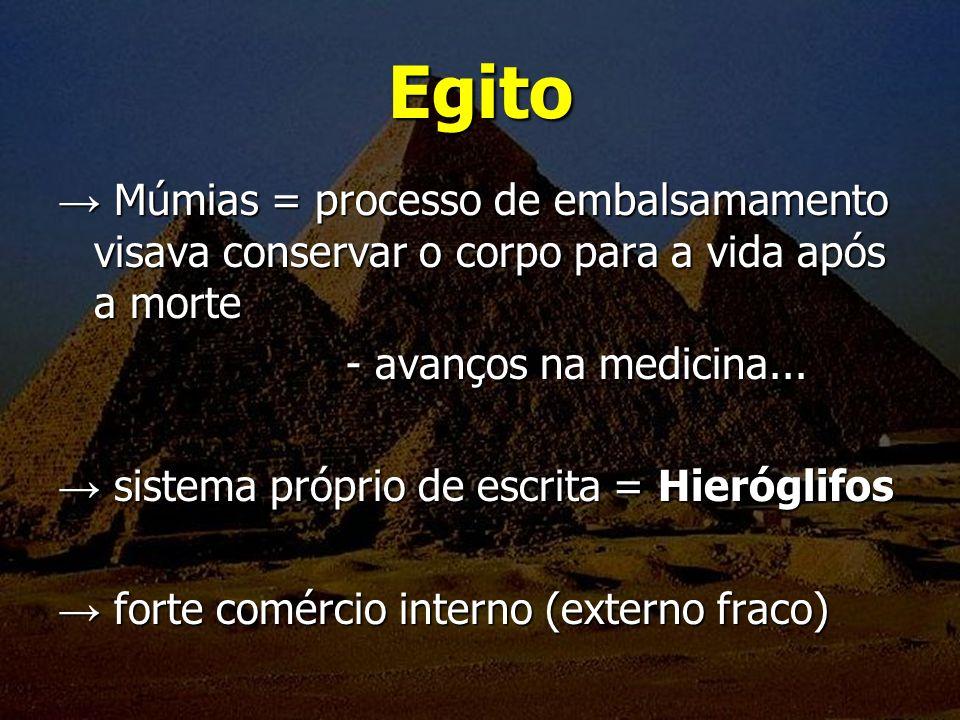 Egito Múmias = processo de embalsamamento visava conservar o corpo para a vida após a morte Múmias = processo de embalsamamento visava conservar o cor