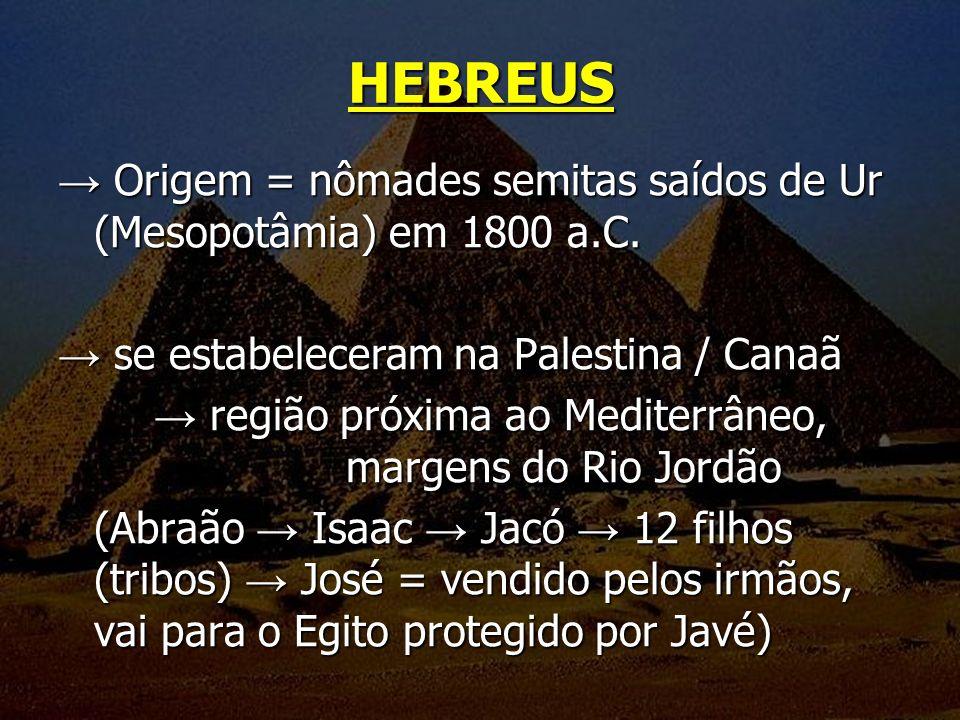 Origem = nômades semitas saídos de Ur (Mesopotâmia) em 1800 a.C. Origem = nômades semitas saídos de Ur (Mesopotâmia) em 1800 a.C. se estabeleceram na