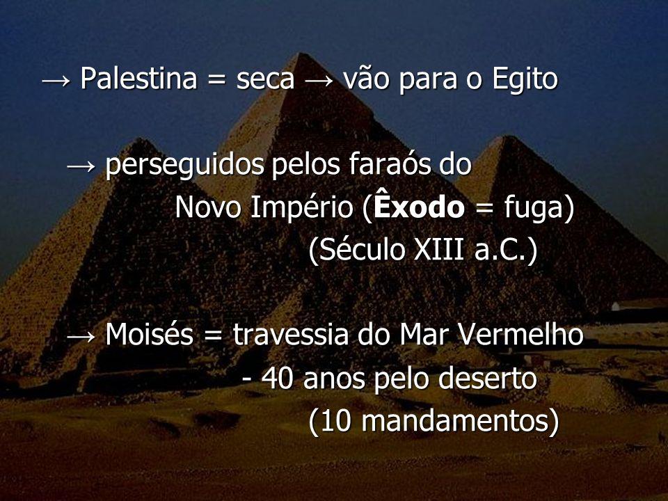 Palestina = seca vão para o Egito Palestina = seca vão para o Egito perseguidos pelos faraós do perseguidos pelos faraós do Novo Império (Êxodo = fuga