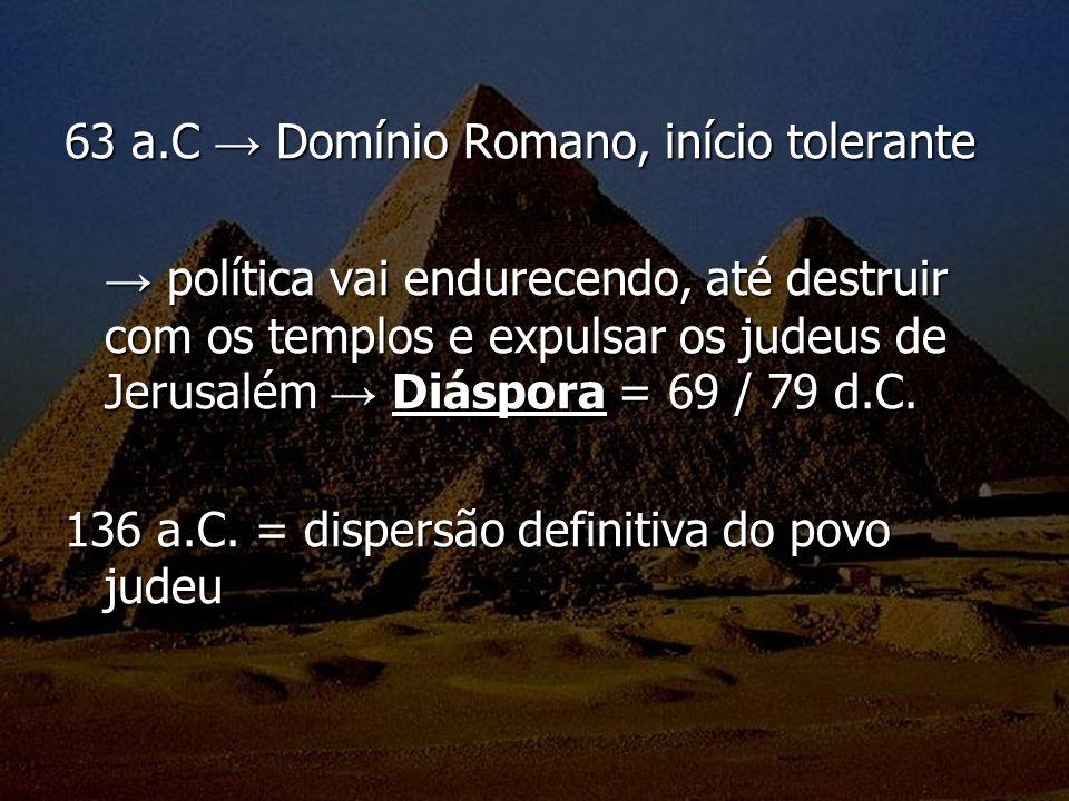 63 a.C Domínio Romano, início tolerante política vai endurecendo, até destruir com os templos e expulsar os judeus de Jerusalém Diáspora = 69 / 79 d.C