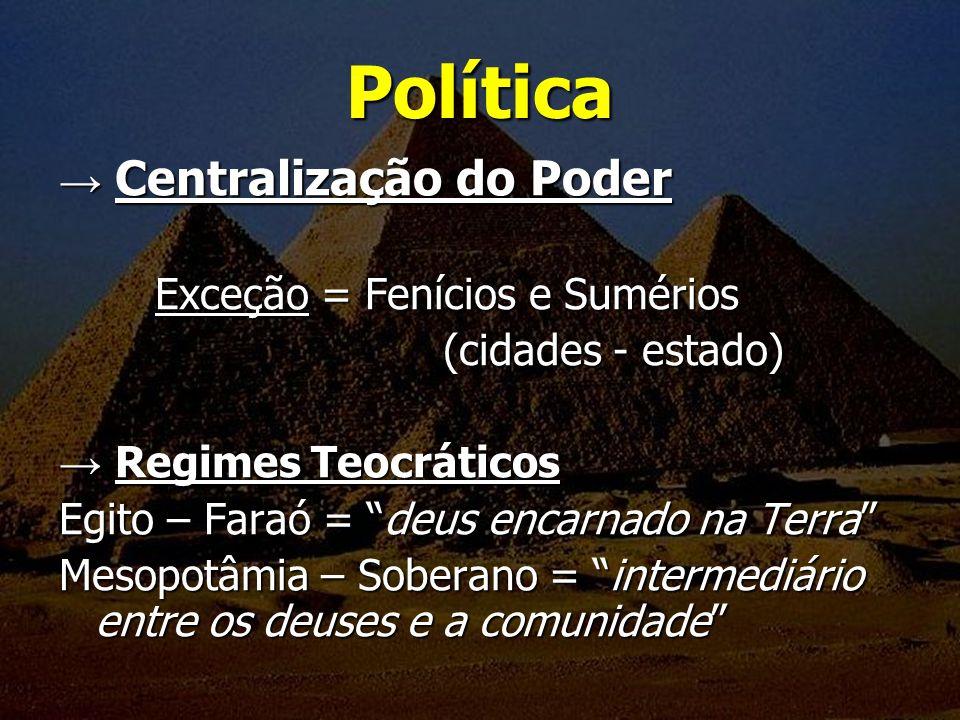 Política Centralização do Poder Centralização do Poder Exceção = Fenícios e Sumérios (cidades - estado) Regimes Teocráticos Regimes Teocráticos Egito