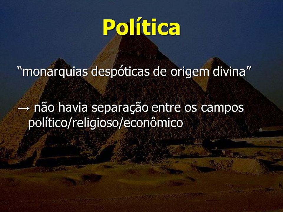 Política monarquias despóticas de origem divina não havia separação entre os campos político/religioso/econômico não havia separação entre os campos p