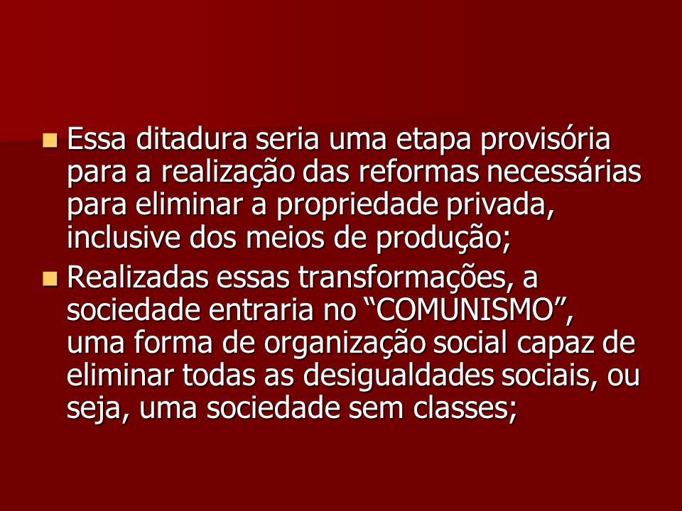 Essa ditadura seria uma etapa provisória para a realização das reformas necessárias para eliminar a propriedade privada, inclusive dos meios de produç