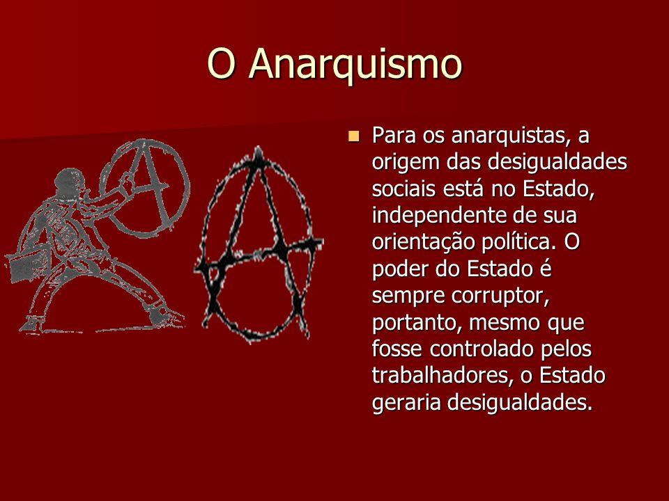 O Anarquismo Para os anarquistas, a origem das desigualdades sociais está no Estado, independente de sua orientação política. O poder do Estado é semp